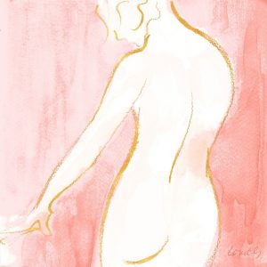 Female Watercolor Figure on Rose
