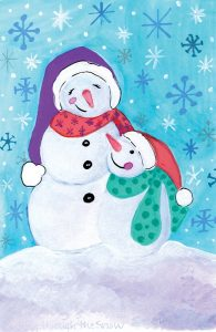 Happy Snowman and Baby