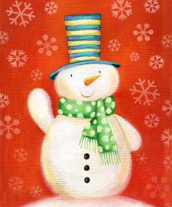 Snowman on Red