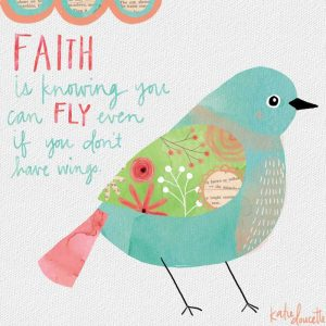 Faith Watercolor Bird