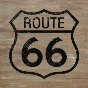 Route 66 Black on Wood