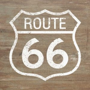 Route 66 White on Wood