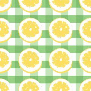 Lemon on Green Gingham