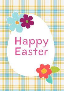 Happy Easter Blue Plaid