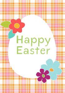 Happy Easter Orange Plaid