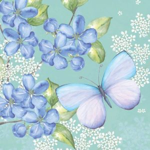 Blue Floral Butterfly