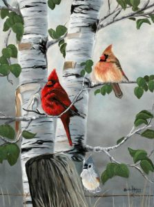 Cardinals and Titmouse