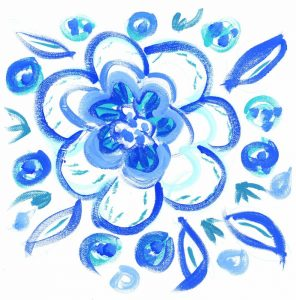 Blue Aqua Painterly Floral