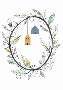 Bird Houses and Wreath
