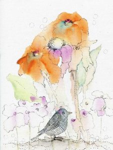Bird and Orange Flowers