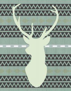 Green Tribal Deer Head on Gray