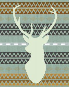 Green Tribal Deer Head