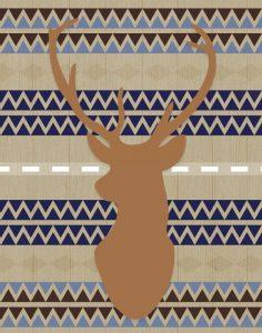 Orange Blue Tribal Deer