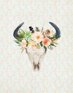 Bull Skull on Floral