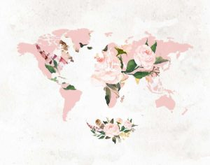Floral Watercolor Map