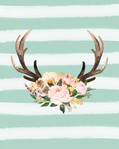 Antlers on Stripes Turquoise