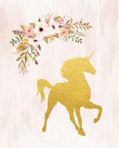 Gold Unicorn Floral