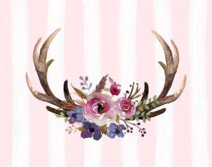 Antlers Flowers Pink Stripes