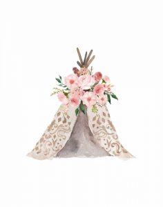 Pink Floral Tee Pee