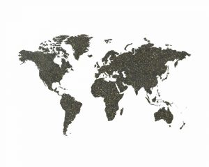 World Map Chalkboard and Gold