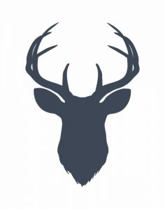 Navy Blue Deer Head