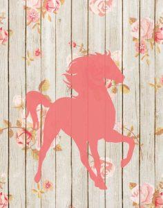 Pink Horse Floral Wood