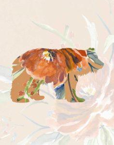Orange Floral Bear