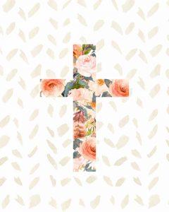 Orange Floral Cross