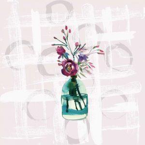 Floral Jar on Grunge Square