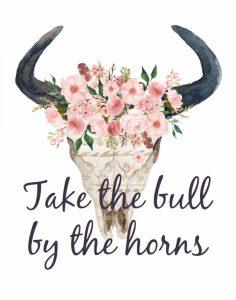 Pink Floral Bull Skull