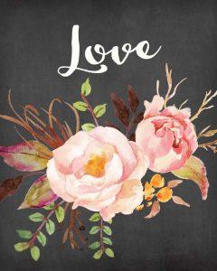 Watercolor Flowers Love