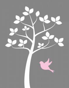 Girl Bird Tree