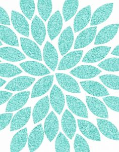Turquoise Flower Glitter