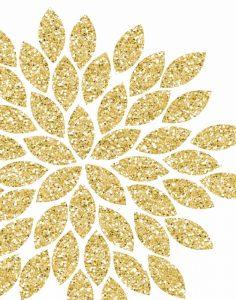 Gold Glitter Flower
