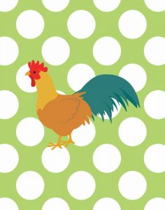 Rooster Polka Dots