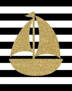 Glitter Sailboat Stripe