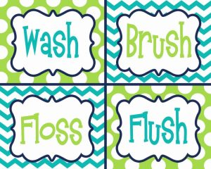 Wash, Brush, Floss, Flush  Green