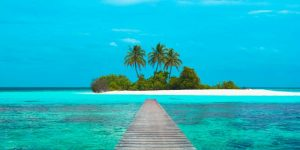 Jetty and Maldivian island