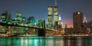 The Brooklyn Bridge and Twin Towers at Night