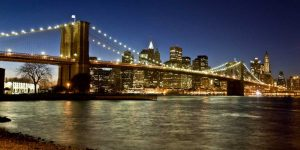 Panoramic view of Lower Manhattan at dusk, NYC