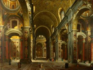The interior of St Peters, Rome