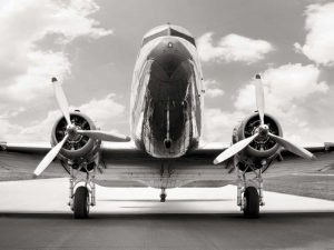 Vintage DC-3 in air field