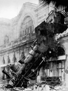 Train wreck at Montparnasse, Paris, 1895
