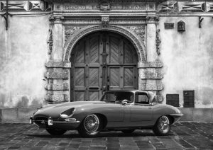 Roadster in front of Classic Palace (BW)