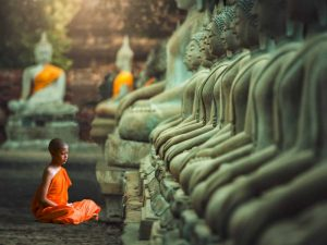 Young Buddhist Monk praying, Thailand