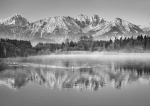 Allgaeu Alps and Hopfensee lake, Bavaria, Germany (BW)
