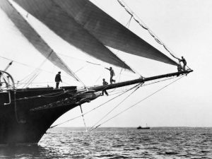 Ship Crewmen Standing on the Bowsprit 1923
