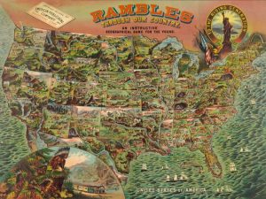 Game board with map of America, 1890
