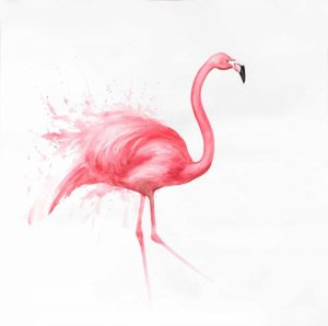 Pink Flamingo Watercolor