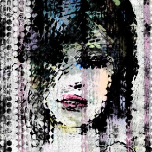 Abstract Colorful Woman Face made from Dots